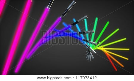 light swords isolated dark background