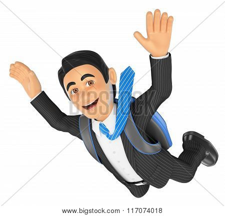 3D Businessman Jumping In Parachute