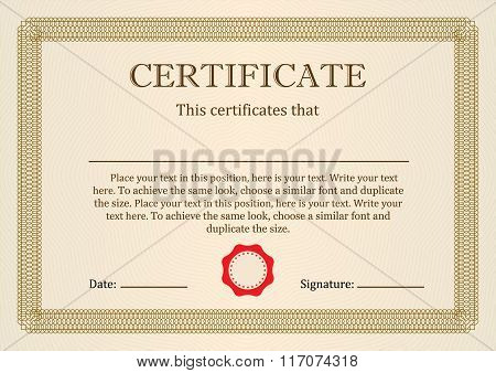 Certificate or Diploma of completion design template with frame. Vector illustration of Certificate.