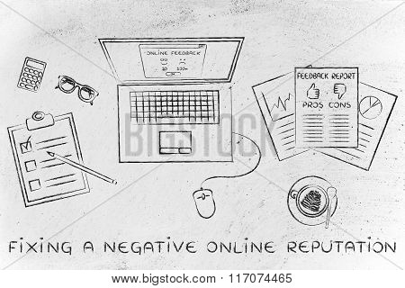 Laptop & Documents With Feedback, Fix A Negative Online Reputation