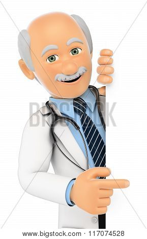 3D Doctor Pointing Aside. Blank Space