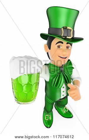 3D St Patrick Day Man With A Beer
