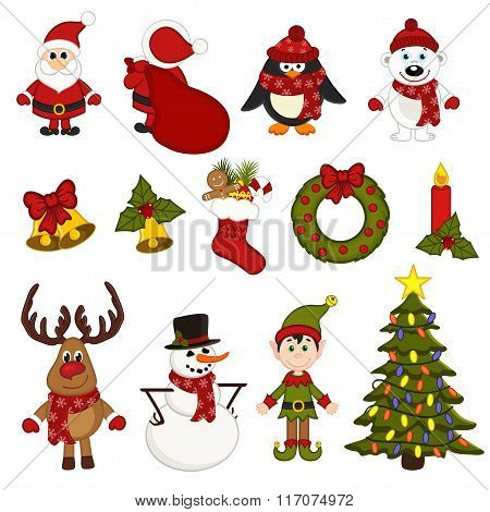 set of isolated christmas characters and decorations