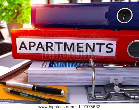 Red Office Folder with Inscription Apartments