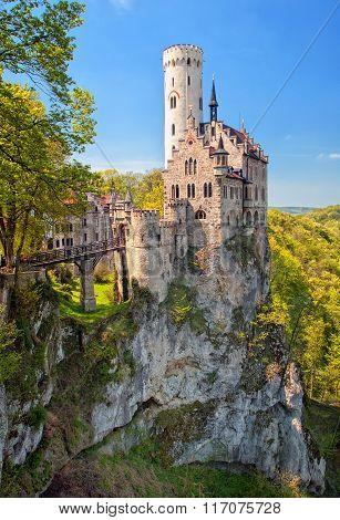 Romantic Lichtenstein Castle On The Rock In Black Forest, Germany