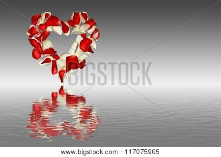 Heart from the petals of roses on a gray shaded background with reflection in water Valentine's Day