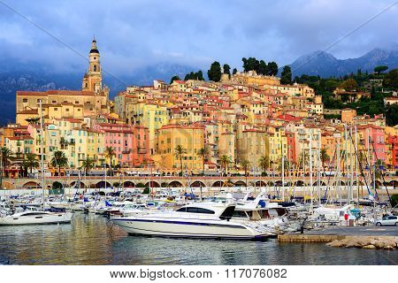 Yachts In The Marina Of Colorful Medieval Town Menton On French Riviera, Provence, France