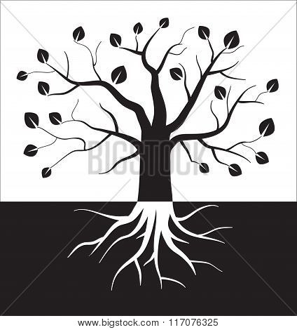 Black and white tree symbol.