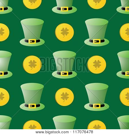 Seamless Patrick Day Pattern With Leprechaun Hats And Coins
