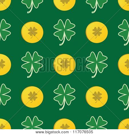 Seamless Patrick Day Pattern With Shamrock And Gold Coins