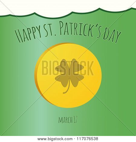 Happy Saint Patrick Day Card With Leprechaun Gold Coin