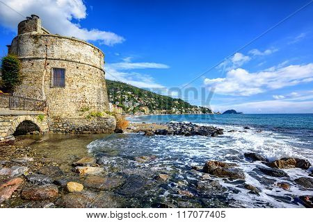 Historical Saracen Tower In Alassio, Resort Town On Riviera, Italy