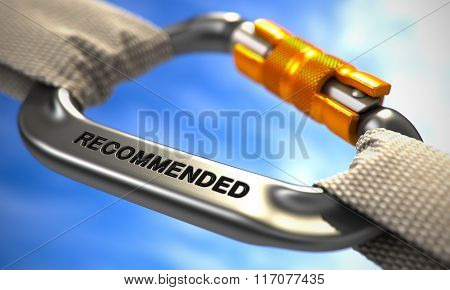 Chrome Carabiner Hook with Text Recommended.