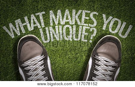 Top View of Sneakers on the grass with the text: What Makes You Unique?