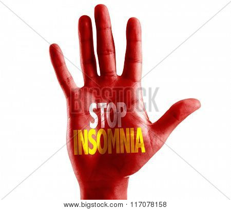 Stop Insomnia written on hand isolated on white background