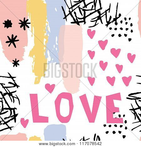 Abstract  Pattern In Memphis Style. Retro Design Style With Ink Texture, Lettering Love And Hearts.
