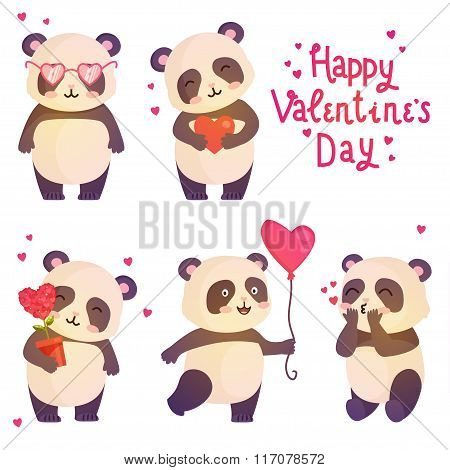 Cute Pandas Illustration For Design Greeting Card For Valentines Day.