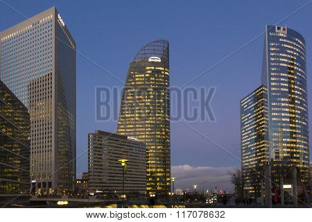 The Business District La Defense At Night.