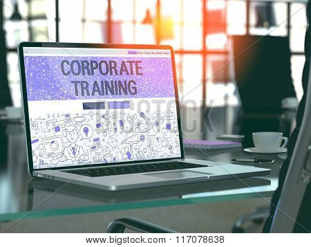 Laptop Screen with Corporate Training Concept.