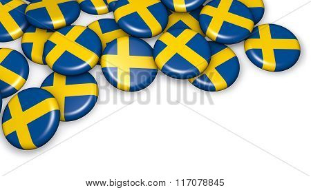 Sweden Flag On Buttons Badges