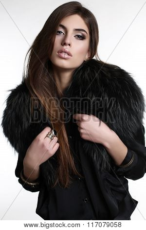 Gorgeous Sensual Woman With Dark Straight Hair Wears Elegant Fur Coat