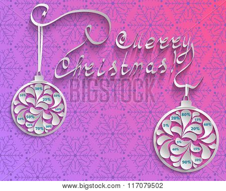 New Year Or Christmas Colored Background With Snowflakes And Inscription And Christmas Balls With Nu