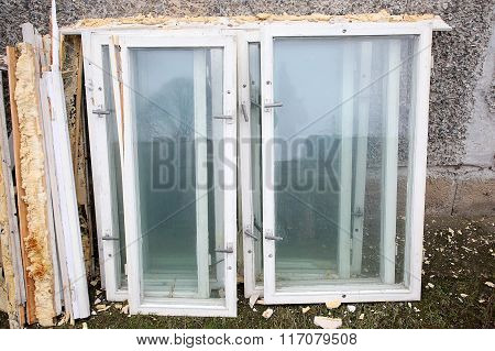 Dismantled The Old Wooden Window Frames