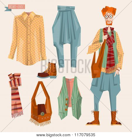 Boho-chic Style Fashion Set For Young Man. Trendy Outfits.