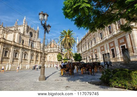 Sevilla, SPAIN - September 09, 2015:  Tower Giralda  of the Cathedral of Saint Mary of the See,  And