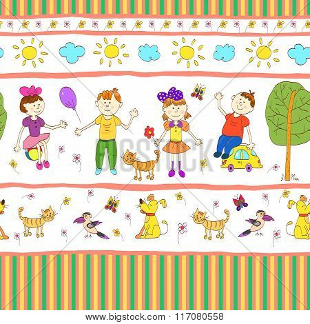 Doodle Seamless Pattern Of Cute Child's Life.