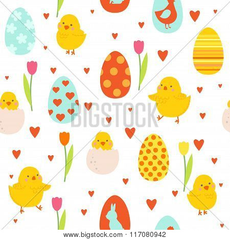 Happy Easter Pattern With Cute Chicks And Eggs.
