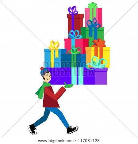 Flat vector Greeting Card illustration isolated on white background with guy buying presents