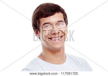 Close up portrait of young cheerful hispanic man wearing glasses and blue t-shirt smiling perfect healthy toothy smile isolated on white background - dentistry or ophthalmology concept