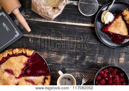 Cherry Pie, Cup Of Coffee On Dark Rustic Background