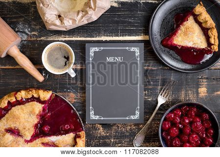 Cherry Pie, Flour, Rolling Pin And Menu Chalkboard Background