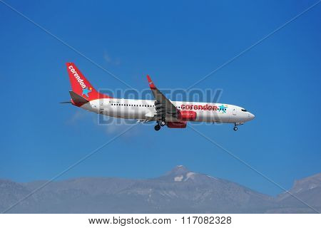 Corendon Boeing 737 is prepared to land in Tenerife South