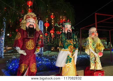 Huahin Thailand - Feb4,2016:chinese God Puppet And Dress Celebrate Chinese New Year Night Scene At H