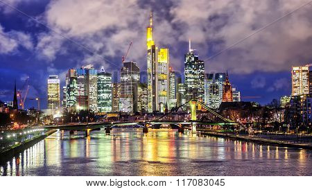 Skyline Of Frankfurt On Main, Germany, In The Evening