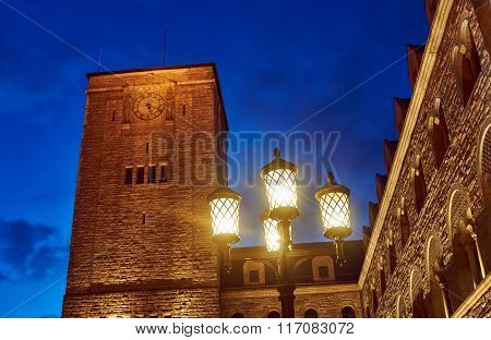 Imperial castle tower at night