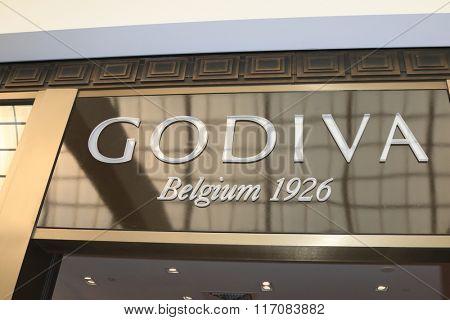 LOS ANGELES - FEB 3:  Godiva Sign at the Eva Longoria Shows Public Display of Godiva Chocolate at the Godiva on February 3, 2016 in Glendale, CA