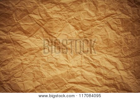 old brown crumpled paper textured background