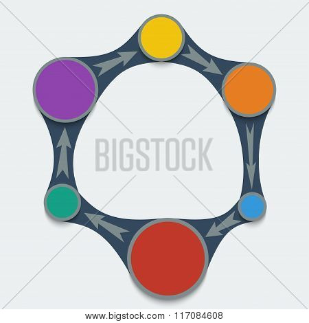 Infographics Template. Colored Pie Chart In Metaball Style.