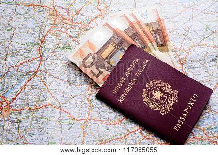 Passport, Money And Map
