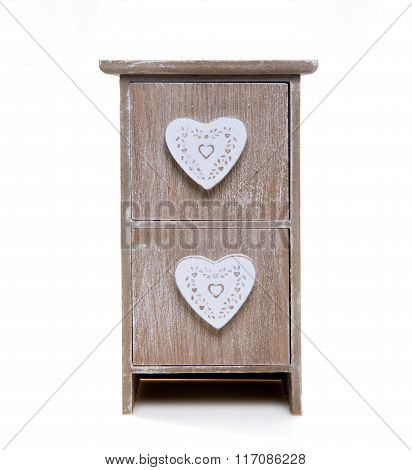 wooden cabinet with  hearts application isolated on white background