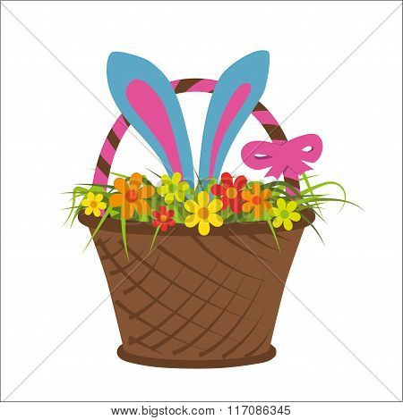 Easter Rabbit In Basket Full Of Flower