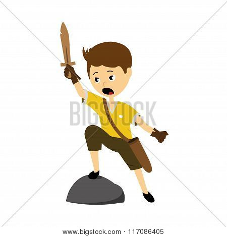 Vector Illustration Of A Boy With Sword
