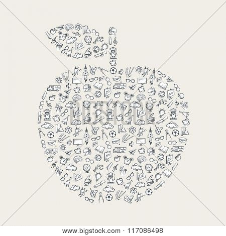 pattern with various education elements as an apple