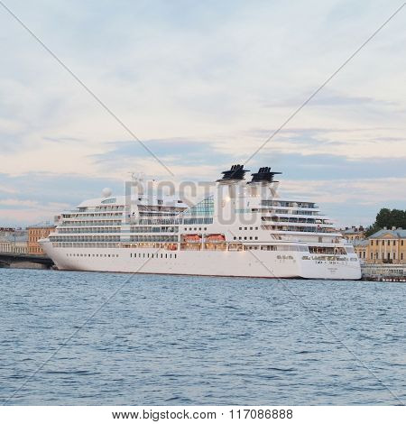 St. Petersburg, Russia, June, 7, 2015: Tourist ship on a Neva river in St. Petersburg