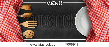 Menu - Blackboard With Kitchen Utensils And Plate