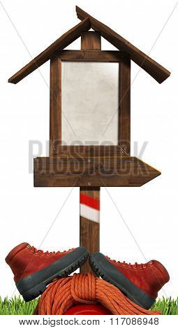 Mountaineering - Wooden Directional Sign